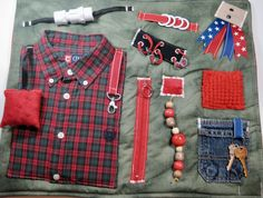 Masculine Red/Green Plaid Shirt on Blue Denim Fidget, Sensory, Activity Quilt Blanket by TotallySewn on Etsy