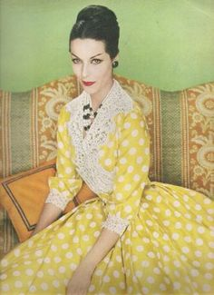 Harvey Berin Lemon Polka Dot Dress   Photo Is From A 1959 Vogue