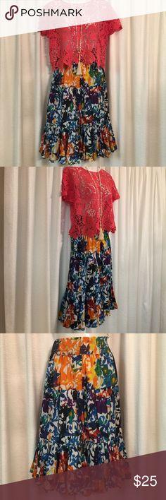 Multicolor BOHO Skirt Chelsea & Theodore Sweet boho skirt. Elastic waist  100% cotton. Lined. EUC.  💋 Chelsea & Theodore Skirts
