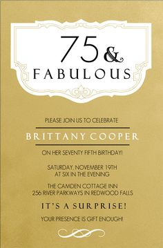 Classic 75th Birthday Gold Surprise Invitations | Chris' 75th B ...