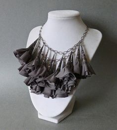 Taupe // Gray // Fabric Flower Statement Necklace от DesignTheory
