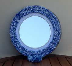 Rope mirror with blue and white rope nautical beach cottage decor large round mirror, beach house interior decor, mirrors