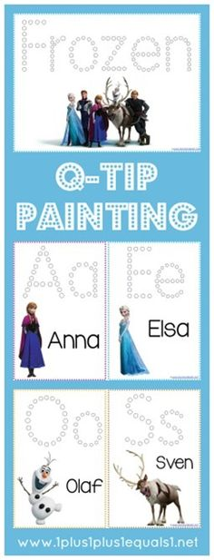 Frozen Q-Tip Painting Printables {free} from @1plus1plus1