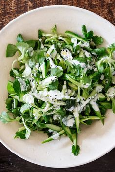This delicate salad, from the chef Yotam Ottolenghi, is redolent with spring flavors Do not dress it until just before it reaches the table, and if mâche is not available, try purslane.