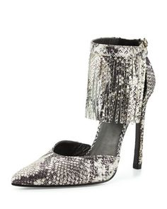 Tipped Python-Print Fringe Pump, Metal by Stuart Weitzman at Neiman Marcus.
