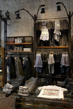 Washington store is the twelfth stand-alone store in the United States, with over 80 stores and 70 concessions worldwide.Allsaints' Washington store is the twelfth stand-alone store in the United States, with over 80 stores and 70 concessions worldwide. Boutique Interior, Clothing Store Interior, Clothing Store Displays, Clothing Store Design, Boutique Decor, Boutique Design, Shop Interior Design, Clothing Racks, Visual Merchandising Fashion