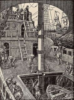 "Inside a Portuguese age of discovery ship ""Nau"". Nautical Artwork, Nautical Theme, Nautical Style, Cochin, Cap Vert, Sailboat Art, Ship Drawing, Tall Ships, British Museum"