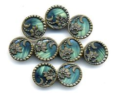 Antique Button Small Victorian Celluloid Green with Flower. 4