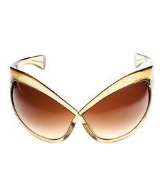 Gold & Brown Crisscross Sunglasses #zulily #zulilyfinds