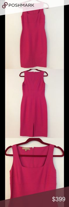 Michael Kors Collection fuchsia sheath dress Authentic Michael Kors Collection fitted fuchsia sleeveless sheath dress. 45% silk, 47% cotton, 8% spandex.  Classic Kors design, reissued every year in various colors. Versatile; can be worn almost anywhere, from a work event to a wedding. US size 4. Dry clean only. No tags, but only worn to try on. Michael Kors Collection Dresses
