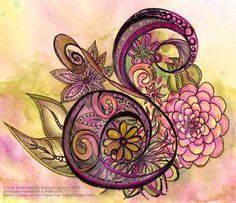 S is for Serendipity, Watercolor & Zentangle Inspired Art by Sharla R. Hicks. This is an example from the Decorative Letter Class taught by Sharla at SoftExpression.com in Anaheim, California
