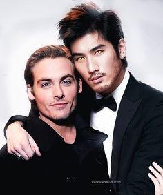 """Kevin Zegers and Godfrey Gao (Magnus and Alec from """"The Mortal Instruments: The City of Bones"""" movie) Shadowhunters Series, Shadowhunters The Mortal Instruments, Malec, Kevin Zegers, To The Bone Movie, Godfrey Gao, Magnus And Alec, Cassie Clare, Cassandra Clare Books"""