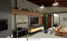 Reforma e Ampliação Residência Unifamiliar Área de Lazer incluindo churrasqueira, sala de Jantar e TV, lavabo, lavanderia, varal, garagem, varanda e piscina/ Local: Cascavel - PR/ Ano: 2015/ Projeto: Huber e Hoelscher Arquitetura e Design/ Imagens: Orb 3D