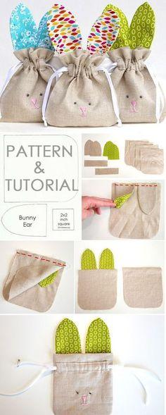 How to Sew simple Drawstring Bunny Bag. Tutorial & Pattern http://www.free-tutorial.net/2017/05/drawstring-bunny-bag-tutorial.html