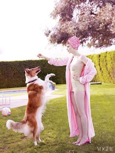 Happy National Dog Day! Karen Elson photographed by Mario Testino for Vogue
