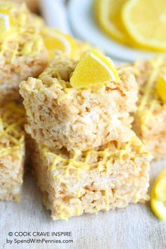 Lemon Rice Krispie treats give a classic treat a fresh spin just in time for spring! Lemon Rice Krispie treats give a classic treat a fresh spin just in time for spring! Healthy Rice Krispie Treats, Rice Krispy Treats Recipe, Rice Recipes For Kids, Rice Recipes For Dinner, Just Desserts, Dessert Recipes, Fudge Recipes, Lemon Desserts, Chex Recipes