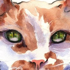 print of an original watercolor painting collage AlisaPaints Alisa Wilcher Meow Orange White Ginger portrait Cat Kitty Green Eyes
