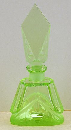 Circa 1930's, Czech / Czechoslovakian, Made for Irice, Green Crystal Perfume / Scent Bottle