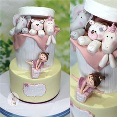 Baby Girl's Toys Box Cake Little Girl Birthday Cakes, Baby Girl Cakes, Baby Girl Toys, Girls Toy Box, Barnyard Cake, Jungle Cake, Welcome Baby Girls, Cake Pictures, Box Cake