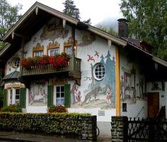 This bavarian little red riding hood house is in a town right outside of the Neuschwanstein Castle.
