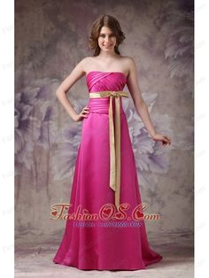 Hot Pink Elegant Bridesmaid Dress A-line Strapless Satin Ruch and Bows- $138.59  http://www.fashionos.com  http://www.facebook.com/quinceaneradress.fashionos.us  Simple while gorgeous! This hot pink prom dress is the best way to show girl's shy beauty. Sexy strapless design does not lack of stability and sex yet elegance. Exquisite ruchings throughout the whole bodice adds more retouch, while together with the chic bow sash in a contrasting color, which can conture your slim figure.