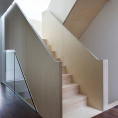 London townhouses by architects Piercy & Company have chunky banisters formed from thickly layered birch plywood. Plywood Interior, Interior Staircase, Open Staircase, Staircase Design, Home Interior, Interior Design, Timber Staircase, Plywood Furniture, Modern Furniture