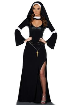 Sexy Nun Women Adult Costume Long Gown Dress Halloween Fancy Party Carnival Free Shipping @FE1627 $28.40