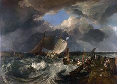 J.M.W. Turner ~ De pier van Calais, met Franse vissersboten klaar voor de zee: Aankomst van een Engelse pakketboot ~ 1803 ~ Olieverf op doek ~ 172 x 240 cm. ~ The National Gallery, Londen