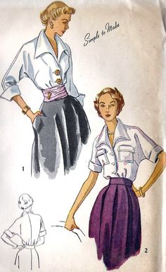 Items similar to Vintage Simplicity 3017 Misses Kimono Sleeve Blouse with Cummerbund Sewing Pattern Sizes 18 Bust 36 on Etsy Vintage Dress Patterns, Blouse Patterns, Clothing Patterns, Vintage Dresses, Vintage Clothing, Moda Vintage, Vintage Vogue, Vintage Hats, Vintage Girls