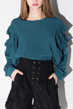 #teal #ruffle #maykool #fashion #streetstyle #bloggerstyle #women #girlylook