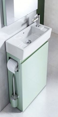 Il Mobile Sottolavabo Allinone Di Aquacabinets By Regia In Mdf Nella Finitura Acquamarina Ha Antina Reversibile Small Bathroom Storagediy Cabinetse