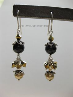 Gold Swarovski crystals and pearl beads Balinese oxidized sterling silver earrings Beaded crystals earrings sterling silver jewelry - pinned by pin4etsy.com