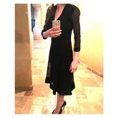 "Black Burberry Silk Long Sleeve Dress NWT NWT Black Burberry Silk Long Sleeve Dress With Sheer Panels At Sleeves, V-Neckline, with Velvet Trim. Waist 24"", Bust 32"", Hip 34"", and Lenth 42.5"". 100% Silk. Burberry Dresses Midi"