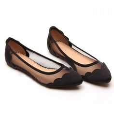 Sexy Casual Splicing and Gauze Design Women's Flat Shoes, BLACK, 39 in Flats | DressLily.com