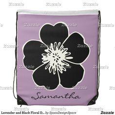 Lavender and Black Floral Drawstring Backpack