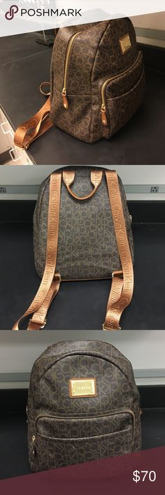 Calvin Klein backpack Brown with gold zippers. Six compartments Calvin Klein Bags Backpacks