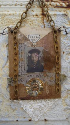 Vintage Collage Altered ART Assemblage  by Mosshillstudio on Etsy
