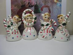 Vintage Wales Japan Christmas Candy Cane Angel NOEL Bells with Pink and Blue Polka Dots