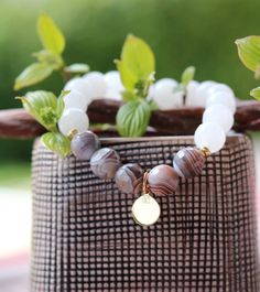 """Women bracelet stone natural """"Inner Peace"""", pearl bracelet gold plated, rose quartz bracelet healing bracelet 368 Botswana agate"""