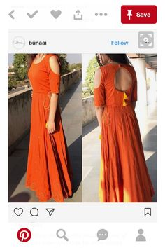 Bunaai has gorgeous indowestern outfits! This cold shoulder long anarkali is perfect for Indian wedding functions like mehendi or haldi. Western Dresses, Indian Dresses, Indian Outfits, Kurti Neck Designs, Blouse Designs, Churidar Designs, Anarkali Dress, Lehenga, Long Anarkali