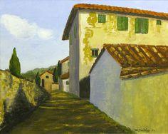 """""""Along Via Barni"""" Small scale original Gouache/panel  Available through artisit Contact: MB.artwork@verizon.net"""