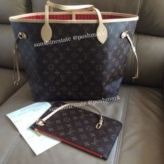 148c6feda7a Had just bought the Neverfull from a LV store. Monogram print w beautiful red  lining.