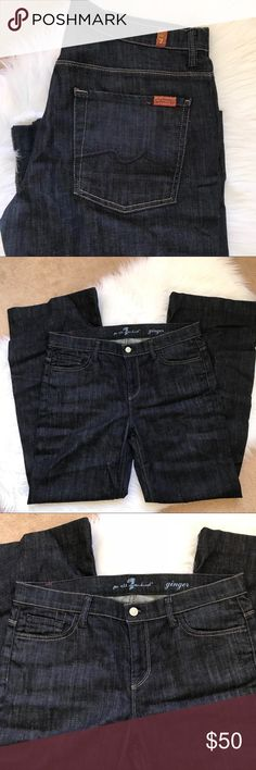 """7 For All Mankind Ginger Dark Wash Sz 32 7 For All Mankind Ginger Flare Jeans.  Size 32.  Dark saturated wash.  Unworn, purchased from Bloomingdales.  No tags.  I think these were hemmed?  I cannot remember and can't really tell, but judging by the inseam I think I did have them professionally hemmed.    Waist flat 17"""" Hips 20.5 Front rise 9.5"""" Inseam 31.5""""  Ankle opening 11.5"""" 7 For All Mankind Jeans Flare & Wide Leg"""