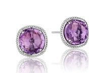 Tacori 18K925 Lilac Blossoms Sterling Silver and Amethyst 10mm Stud Earrings