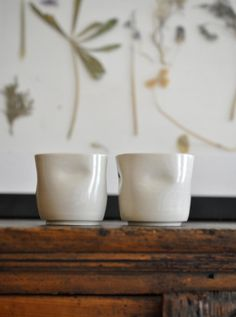 """Set of 2 Porcelain Tumblers by covetandginger of etsy. Free shipping with the code """"fledgling"""""""