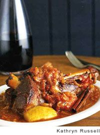 Braised lamb shank in piot noir...one day i'll make this for someone special