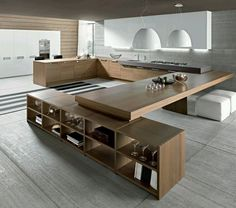 Wooden modern #kitchen. genius idea for dining room table