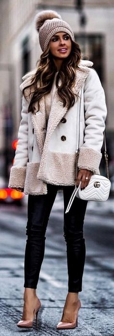 #winter #outfits  white and gray fur trim coat