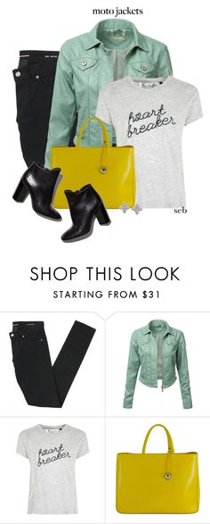"""""""Moto Jacket"""" by coombsie24 ❤ liked on Polyvore featuring Yves Saint Laurent, J.TOMSON, Tee and Cake, Furla, Pierre Hardy and Roberto Coin"""