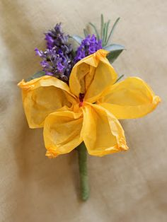 How to make a tissue paper flower boutonniere with lavender and sage sprigs